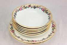 LOT ANTIQUE AHRENFELDT LIMOGES  CHINA  6 BOWLS, 2 PLATES WHITE BLUE GOLD FLORAL