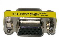 VGA SVGA 15 Pin Female to Female Mini Gender Changer Adapter Extender Connector