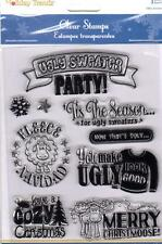 New MULTI CRAFT RUBBER STAMP clear cling UGLY SWEATER CHRISTMAS FREE US SHIP