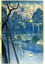 Misty Evening at Shinobazu Pond Tokyo by Kasamatsu Japanese Woodblock Print