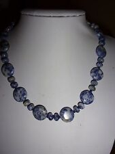 BLUE SODALITE- AGATE NEW CRYSTAL HEALING. NATURAL QUARTZ NECKLACE BB COINS