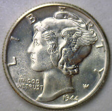 1944 S Silver Mercury Dime Winged Head Unc US Ten Cent Coin from Roll #R