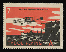 "TYDOL FLYING ""A"" POSTER STAMPS OF 1940 - #7, FIRST SHIP LANDING, EUGENE ELY"