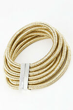 "10"" gold 6 layer multi strand row coil choker collar necklace bib balmain style"