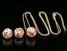 Gorgeous crystal red cream butterfly ball pendant necklace earrings jewelry S87