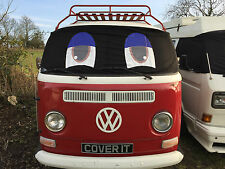 VW T2 Bay Van Window Camper Screen Wrap Cover transporter Frost Funny Face Eyes