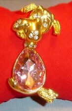"""Cute TERRIER/SCHNAUZER DOG Pin/Brooch, Goldtone/Crystals/Pink Glass Stone, 2"""""""