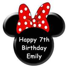 """Minnie Mouse Head Ears Personalised Cake Topper Edible Wafer Paper 7.5"""""""
