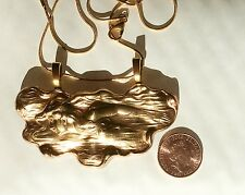 Mermaid art nouveau vintage large brass pendant necklace chain 43cm plus leather