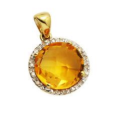 14K YELLOW GOLD PAVE DIAMOND CITRINE HALO ROUND DANGLE PENDANT NECKLACE
