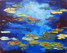 Oil Painting Water Lilies Pond Impressionist Waterscape