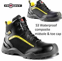 MENS S3 WATERPROOF SAFETY WORK LEATHER BOOTS HIKER COMPOSITE TOE CAP MIDSOLE SZ