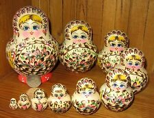 Russian NESTING doll 10 hand painted Pink Flowers Pyrography Babushka SIGNED ART