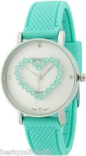 NEW GENEVA TORQUOISE AQUA BLUE SILICONE CRYSTALS HEART ROUND DIAL WATCH