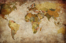 World map photo wallpaper - vintage retro motif - XXL mural - wall decoration