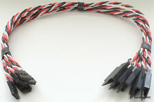 (5) 30CM Twisted 22awg Servo Extension Leads Futaba with Built In Safety Clips