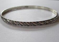 DANECRAFT STERLING signed patterned SILVER bangle bracelet LOVELY