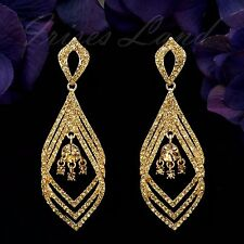 18K Gold Plated GP Topaz Crystal Rhinestone Chandelier Drop Dangle Earrings 0048