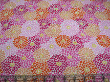 3 Yards Quilt Cotton Fabric - Fabric Traditions Mumms Flowers Packed Pink