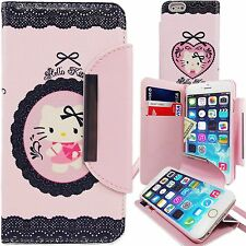 "Hello Kitty Pink PU Leather Lace Wallet Case for Apple iPhone 6 Plus 5.5"" Cover"
