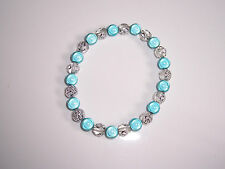 Turquoise Miracle Bead /Clear Flower Stretch Bracelet Fashion Jools Handmade