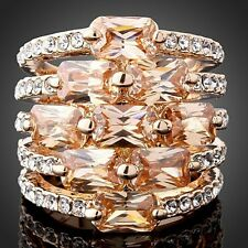 Topaz Citrine Austrian Crystal Rose White Gold plated Women Ring Size 6 7 8 9
