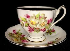 Vintage Queen Anne Fine Bone China Tea Cup and Saucer Set - White & Pink Flowers
