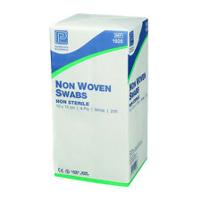 Pack of 200 -First Aid Non Woven SWABS - 5cm x 5cm - Non sterile Medical (4ply)
