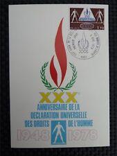 FRANCE MK UN HUMAN RIGHTS MENSCHENRECHTE MAXIMUMKARTE MAXIMUM CARD MC CM c1623