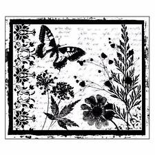 Crafty Individuals BUTTERFLY MEADOW Unmounted Red Rubber Stamp