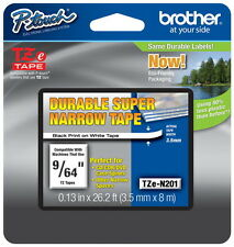 "Brother TZeN201 9/64"" (3.5mm) Super Narrow p-touch tape for PT2730, PT-2730"