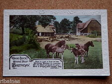 R&L Postcard: Horses Ponies Pony, Colour Tinted  Thatched Farm Buildings