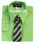 Boy's Formal Lime Apple Green Solid Long Sleeve Dress Shirt With Tie Sizes 2T-20