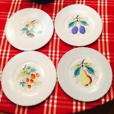 4 Vintage Hand Painted French White Milk Glass Fruit Plates Westmoreland