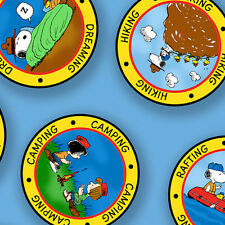"Peanut Snoopy Camp Badges Blue 100% cotton 44""  fabric by the yard"
