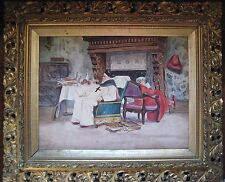 Signed Vibert -Antique European Watercolor Of An Interior Scene Two Cardinals