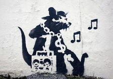 BANKSY MUSIC RAT NEW A3 CANVAS GICLEE ART PRINT POSTER