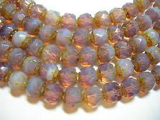 25  6mm Czech Glass Milky Amethyst Opal Renaissance beads