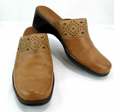 Clarks Women's Shoes Size 9.5 M Brown Leather Upper Clog Open Back Mule