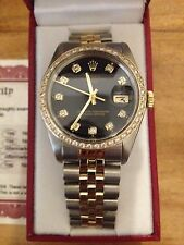 Mens Rolex Date 14K Yellow Gold & Steel Watch Black Diamond Dial 1ct Bezel 1505