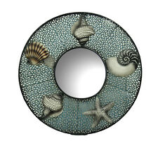 Blue Metal Seashell Framed Decorative Round Wall Mirror 28 in.