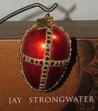 JAY STRONGWATER SWAROVSKI CRYSTAL RED 2002 EGG CHRISTMAS ORNAMENT IN BOX