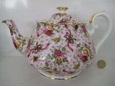 RARE Vintage Royal Albert Old Country Roses Ruby Celebrazione Teiera Pretty Pink