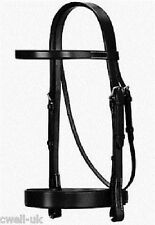 NEW Cwell Equine PLAIN FLAT HUNT Cavesson Bridle With LEATHER Reins BLACK PONY