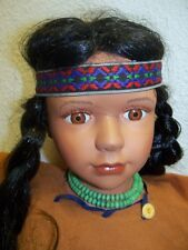 """Scary Hand Made Native American Style Doll 36"""" Porcelain Head, Feet Hands OBO"""