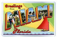 GREETINGS FROM MIAMI FLORIDA FRIDGE MAGNET SOUVENIR IMAN NEVERA