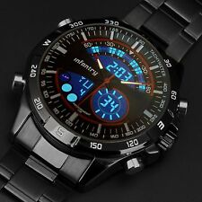 INFANTRY Mens LED Digital Quartz Watch Date Sport Military Black Stainless Steel