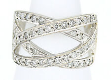 Women's Natural Untreated Diamond .70 ct GIA Spec Wrap Band 18k Solid White Gold