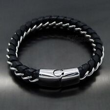MENS13MM Thick Genuine Black Braided Leather Stainless Steel Curb Chain Bracelet