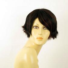 perruque femme 100% cheveux naturel courte méchée noir/rouge CLARA 1b410